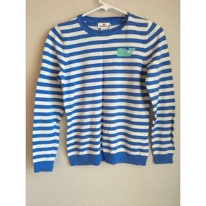 Vineyard Vines Womens Blue Strip Knit Sweater